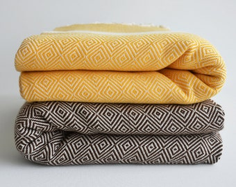 SALE 30 OFF/ Diamond Blanket / Yellow - Brown  / Twin XL / Bedcover, Beach blanket, Sofa throw, Traditional, Tablecloth