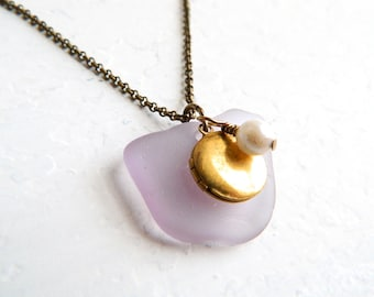 Lavender Sea Glass Locket Necklace, Purple Genuine Seaglass, Antique Style Brass Chain, Chesapeake Bay Beach Glass Jewelry