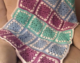 Crochet Granny Square Baby Afghan or Crib Blanket in Pastel Green, Blue, Purple and White Yarn