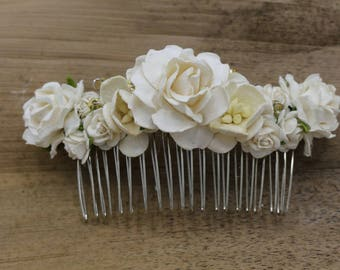 White Mulberry Paper flower Hair comb, Bridal hair comb, Bridal flower headpiece, Wedding hair comb