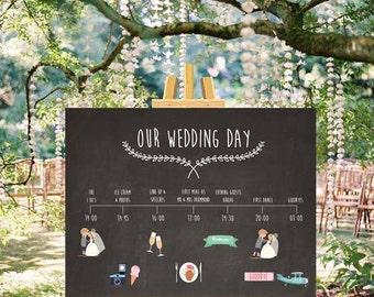 Customisable Wedding Timeline (Chalkboard) - Digital file