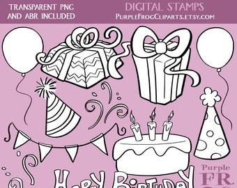 BIRTHDAY - Digital Stamp Set, Brushes. 11 images, 300 dpi. jpeg, png, abr files. Instant download.