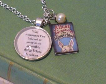 Book Nook Necklace, Alice in Wonderland, Alice Necklace, Book Necklace, Quote Necklace, Silver Chain, Pearl Necklace, Pendant, MarjorieMae