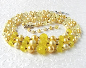 Vintage Beaded Necklace 3 Strand Meadowlark Yellow Rose Acrylic Beads Faux Pearl Lemon Costume Jewelry Wedding Prom Stage Halloween Theater