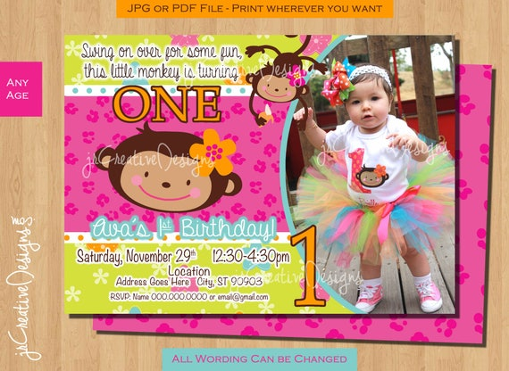 First birthday monkey girl birthday invitation monkey filmwisefo Image collections