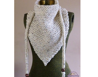 Hand Knit Triangle Scarf Neutral Oatmeal or YOUR COLOR CHOICE Bandana Scarf Triangle Cowl Triangle Shawl Kerchief Neckwarmer Fall Fashion