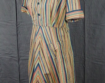 Vintage 1960s Striped Shirtwaist Dress with Beautiful Stripes
