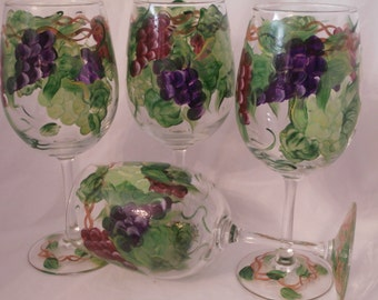 Pretty set of multi grape goblets. Set of 4. Hand painted. Pretty maroon, purple and green grapes. Made in the usa.