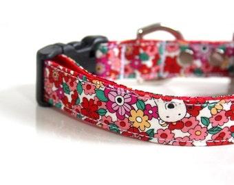 Floral Polar Bear Dog Collar - red
