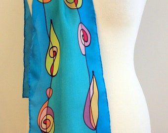 "Handpainted Silk Scarf. Flowers Silk Scarf. Hand Painted Silk. Wedding Gift. Silk belt. Silk Headband. Silk Art.78""x7.8"""