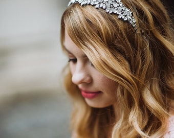 Beaded Bridal Headpiece / Rhinestone Headband / Ivory Beaded Headband / Bridal Headband / Kristin Perry