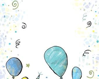 INSTANT DOWNLOAD - Invitation Birthday Card - Blue - Yellow - Green - Balloons - Birthday - Baby - Kid - Digital File