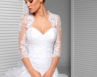 Bridal Lace Cover up - 3/4 Sleeve Lace Wedding Jacket