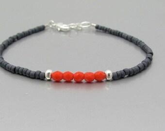 SALE Seed Bead Bracelet, Beaded Friendship Bracelet, Red Gray Dainty Petite, Gift for Her