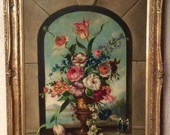 Sale Antique 19th C. Italian Venetian Landscape Floral Still Life Flower Bouquet Signed Vannetti Gold Baroque Framed Art