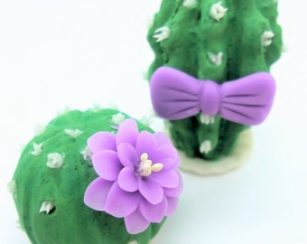 Wedding Cake Topper, Miniature Polymer Clay Flowers Handmade Supply Cactus, set of 2 pieces