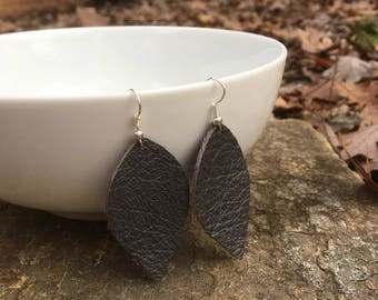 Leather Leaf drop earrings, Gray, gunmetal leaf shaped earring,  Gift for her, Joanna Gaines inspired