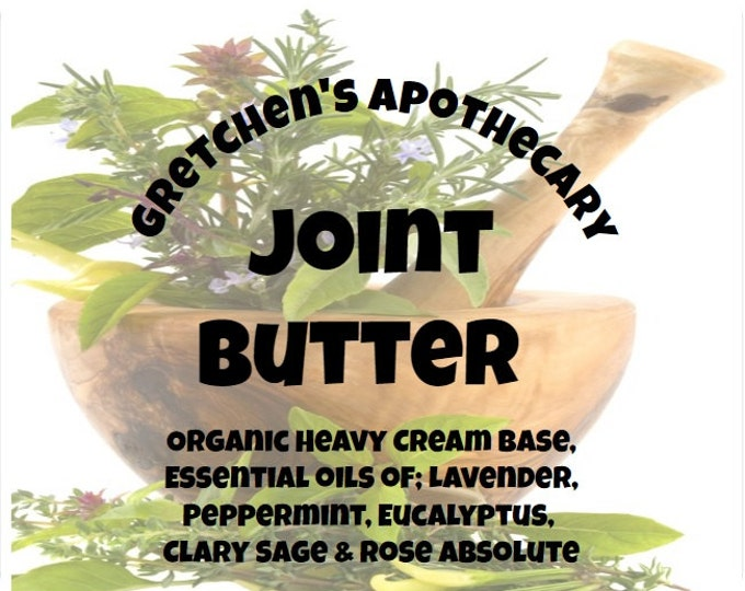 Joint Butter Organic Cream Lotion jntbb021 Lavender, Peppermint, Eucalyptus, ClarySage & Rose Absolute
