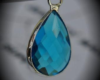 Silver Plated Bezel Brass Faceted Glass Tear Drop Pendant - Capri Blue