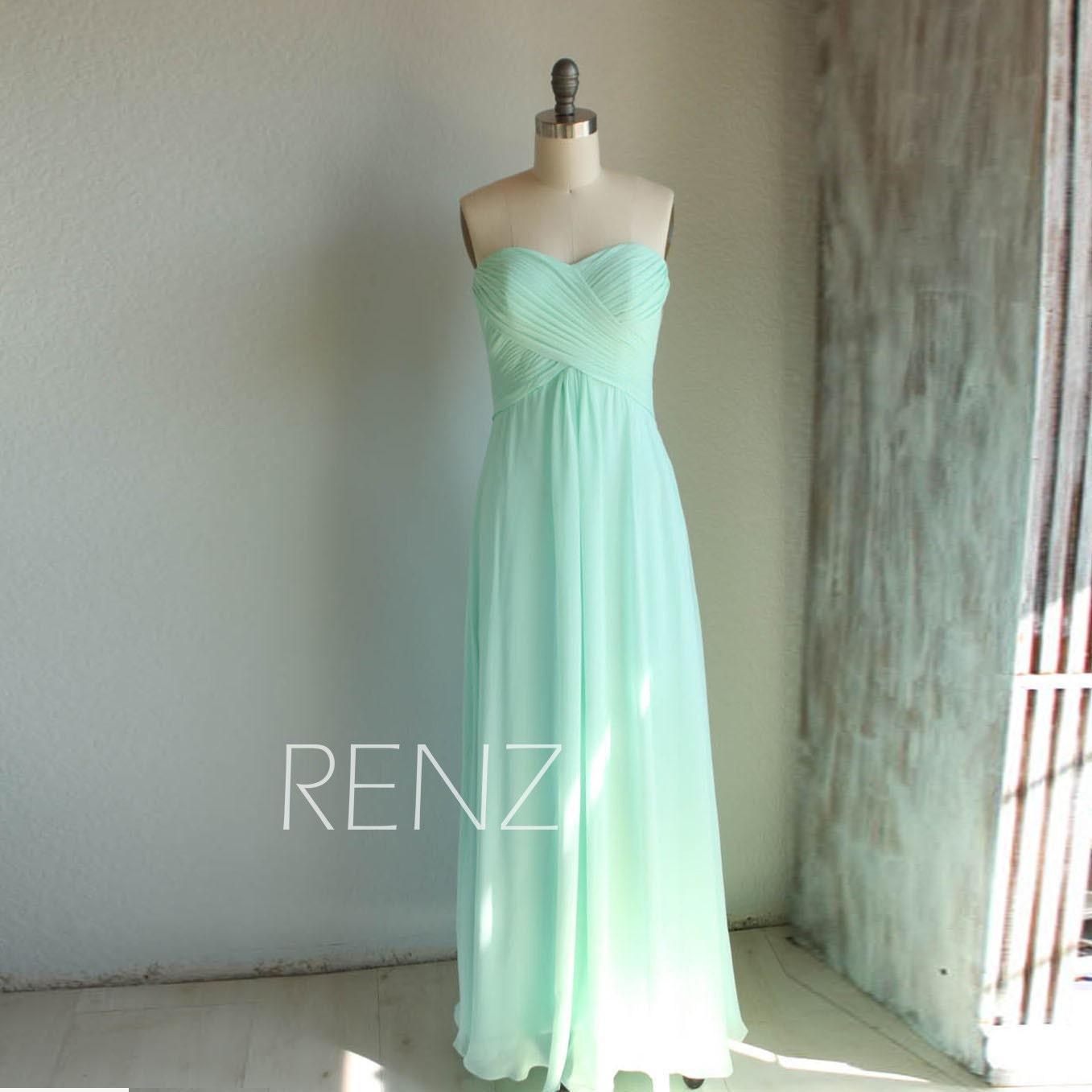 Long mint bridesmaid dress