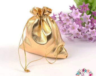 Gold Drawstring bags Party/Wedding/Shower favor bags Jewelry pouch Organza Bags DIY supplies Wholesale Bulk