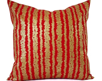 Two Red Pillow Covers - Metallic Gold Pillow Sham - Decorative Pillow - Red Striped Pillow - Holiday Pillow Cover - Christmas Pillows