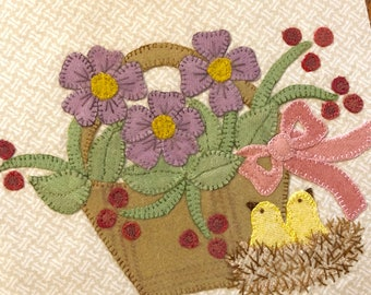 Garden Mystery Quilt block Garden Posies with printed pattern
