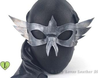 Silver Bird Masquerade Mask, Mardi Gras Mask, Masked Ball, Leather Mask, Cosplay Mask, Easy Costume, Handmade Mask