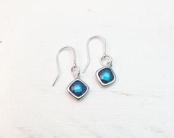 Sapphire Earrings, Blue Earrings, Blue Stone Earrings, Blue Drop Earrings, Simple Modern Earrings, Glittery Earrings, Sapphire