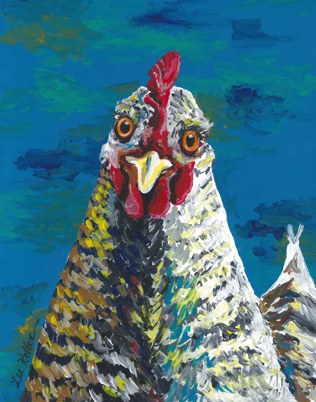 Colorful Chicken art print from original canvas chicken