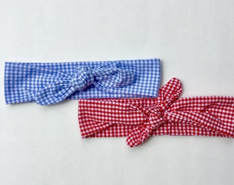 Blue Gingham Knot Headband