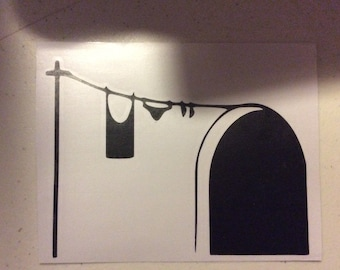 Mouse hole with clothesline decal
