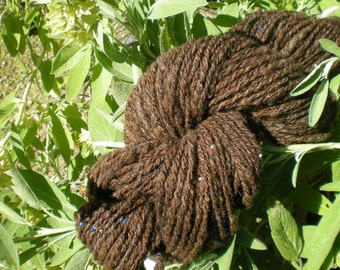 Beaded Romney Wool Yarn  Aran Weight MAHOGANY DREAM 124 yards