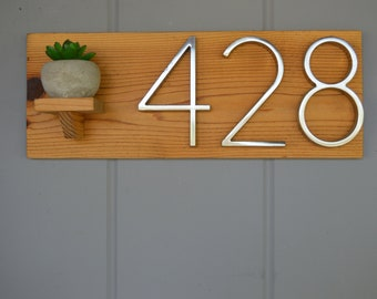 Wood Address Plaque, Cedar Wood, Address Plaque, Succulent, Address Numbers, Home Address Plaque, Address Plate, House Number, Planter