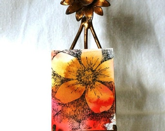 Flower watercolor aceo, pen and ink, original art abstract floral gift tag, with ribbon gold orange, mini art, botanical art, sfa