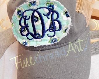Ladies Floral Patch Applique Trucker Monogram Mesh Back Baseball Cap Hat Mom Bridesmaid Bride Bachelorette Summer Beach Hat Trucker Hat