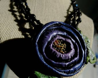 One Of A Kind . Polymer Clay Floral Pendant Necklace . PURPLE POSEY. Purple. Apple Green . Purple . Black . Adjustable