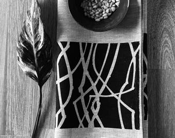 Black screen print on oatmeal linen tea towel. I love this striking neutral look and its so versatile for modern kitchens.