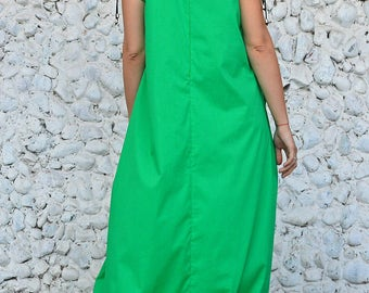 Extravagant Green Dress, Green Cotton Dress, Green Party Dress, Green Maxi Dress with Flounces TDK234 by TEYXO