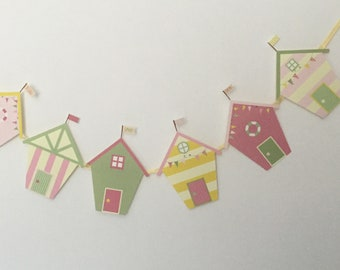 """Beach Hut Themed  Bunting 6 individual  pastel coloured huts attached to pretty ribbon hand crafted 60"""""""