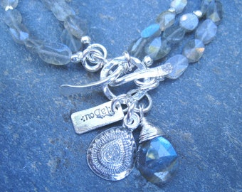 Labradorite Bracelet, Triple Strand Bracelet, Layered Bracelet, Toggle Bracelet, Labradorite and Silver, Blue Gray Bracelet,  SweetTaBou
