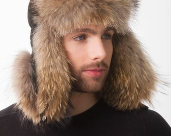 Raccoon Fur Trapper Hat with Suede for a Men s 22-23  21ac779ca32