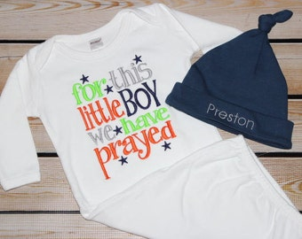 For This Little Boy We Have Prayed Gown ~ Baby boy coming home outfit ~ New baby ~ Personalized Hat