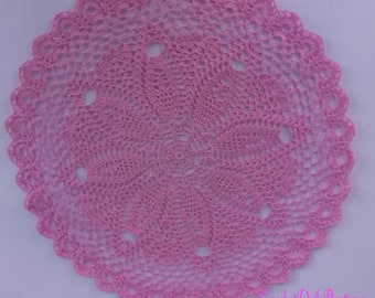 Crochet Doily in dark red color, round crochet doily in pink color, light pink centerpiece,table decor 33cm, 13 inches, table topper