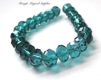 RESERVED for GINA Teal Rondelle Beads, 8mm Faceted Glass Crystals, 8 mm x 6mm - 7mm Rondelles, Blue Green Spacer Beads,  24 Pieces SP726