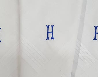 100% Cotton Initial Mens Monogrammed Embroidery 1s or 3s Quality Hankies Handkerchief