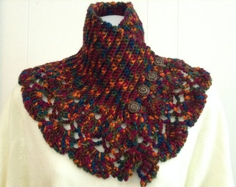 Neck Warmer Crocheted in a Satin Soft Vareigated Yarn with Lace Crochet Trim - Scarf Alternative