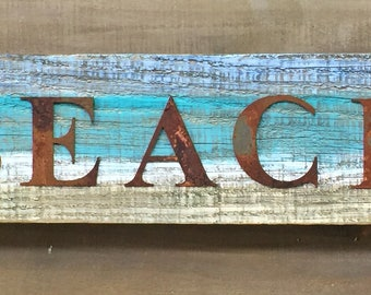 Rustic BEACH Sign on Reclaimed 100 Yr Old REAL Barn Wood, Rusty Metal Letters Artistic Beach Scene