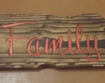 TIki or Distressed Style Wood Family Sign