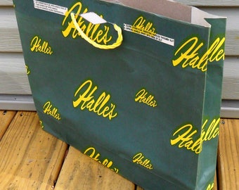 Halle's Department Store Paper Shopping Bags Vintage Lot of 3 Green and Yellow